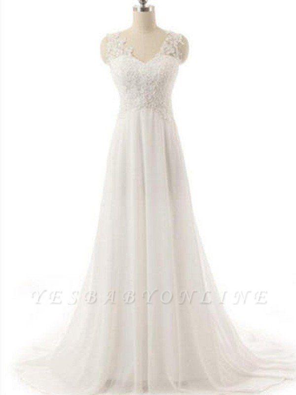 Sweep Train V-neck Sleeveless Chiffon Lace Wedding Dresses