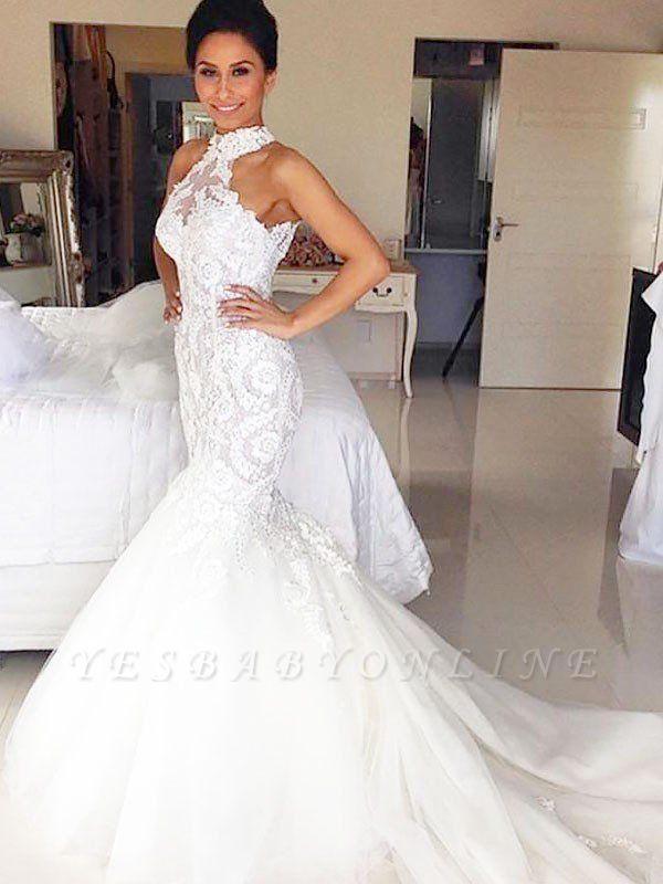 3/4 Sleeves  Court Train Tulle Halter Sleeveless Sexy Mermaid Wedding Dresses