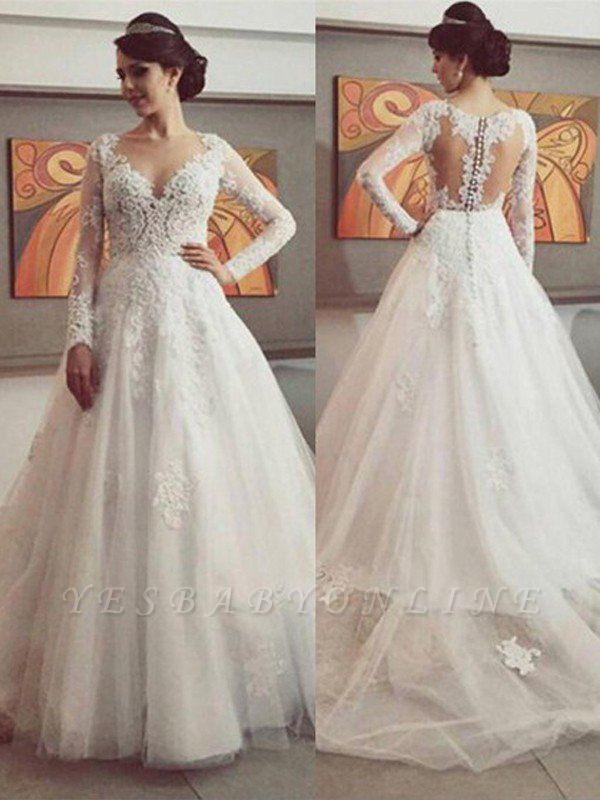Court Train Tulle Lace Wedding Dresses |  Puffy V-neck Long Sleeves Bridal Gowns