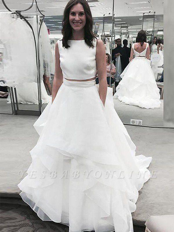 Stunning Sleeveless Court Train Chiffon Bateau Wedding Dresses