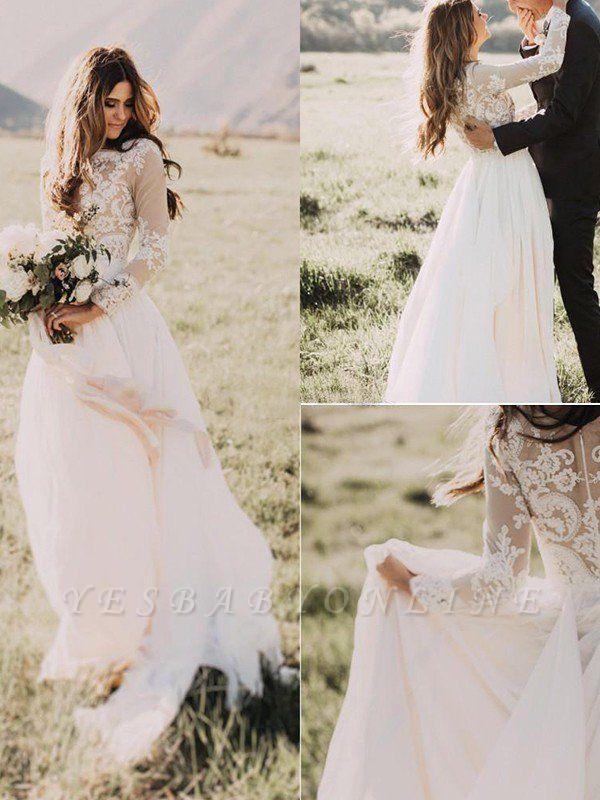 Alluring Long Sleeves Floor-Length Applique Tulle Scoop Wedding Dresses