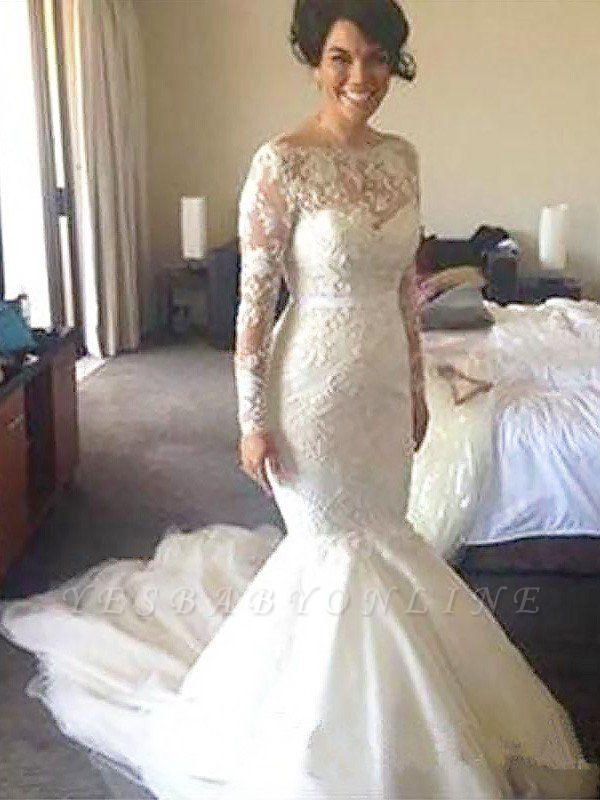 Gorgeous Court Train Long Sleeves Tulle Applique Bateau Wedding Dresses
