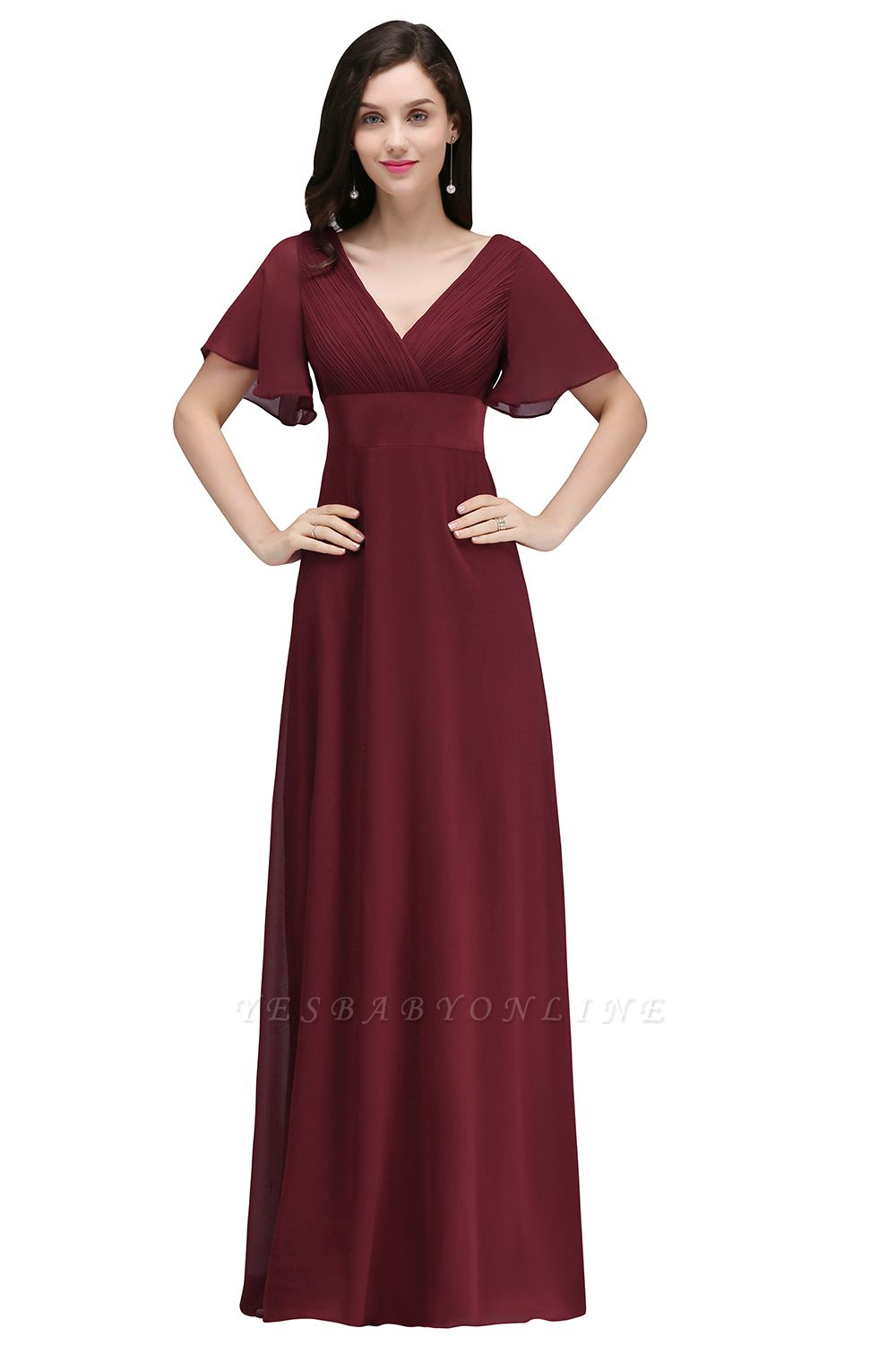 Simple A-Line  V-Neck Short-Sleeves Ruffles Floor-Length Bridesmaid Dresses