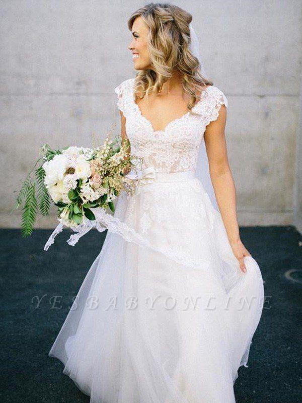 Sleeveless Floor-Length Lace Tulle V-neck Wedding Dresses