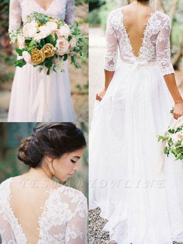 Lace Chiffon Applique Wedding Dresses | V-neck Floor-Length 1/2 Sleeves  Bridal Gowns