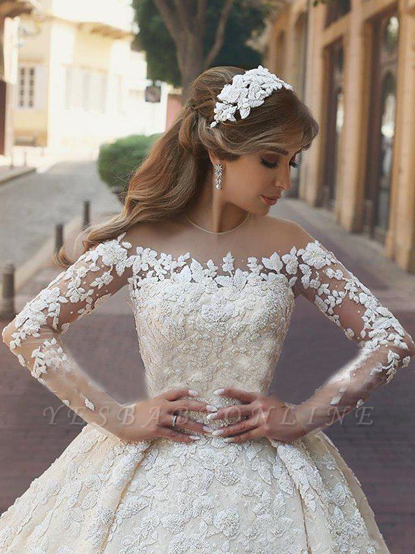 Elegant Long Sleeves Satin Scoop Chapel Train Applique Puffy Wedding Dresses