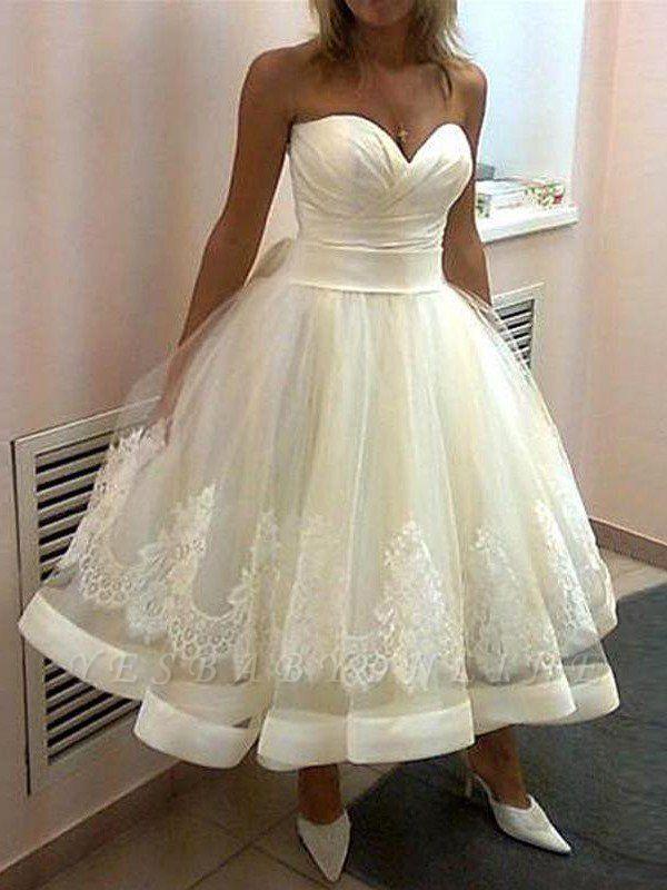 Tea-Length Puffy Sweetheart Tulle Sleeveless Applique Wedding Dresses