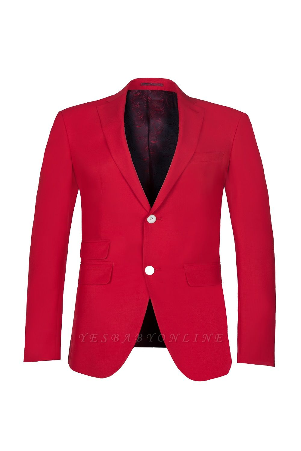 Customize Red Two Button High Quality Back Vent Wedding Suit