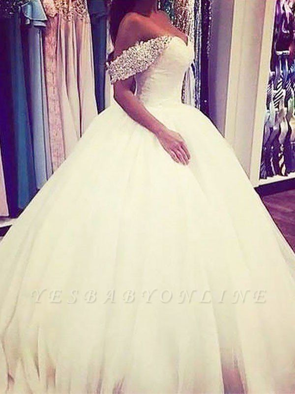 Sweep Train Beads Puffy Tulle Sleeveless Off-the-Shoulder Wedding Dresses