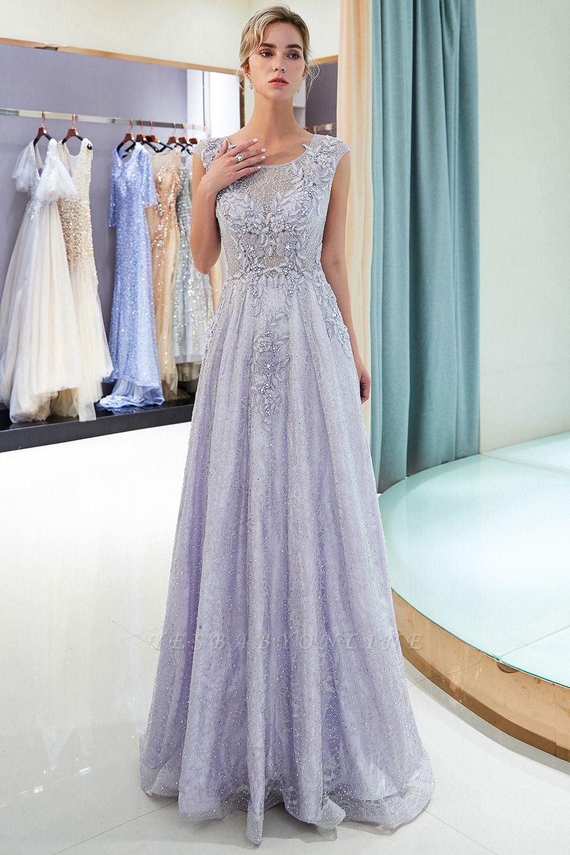 Elegant A-Line Lace Appliques Crystal Prom Dress | Sleeveless Long Evening Dress Online