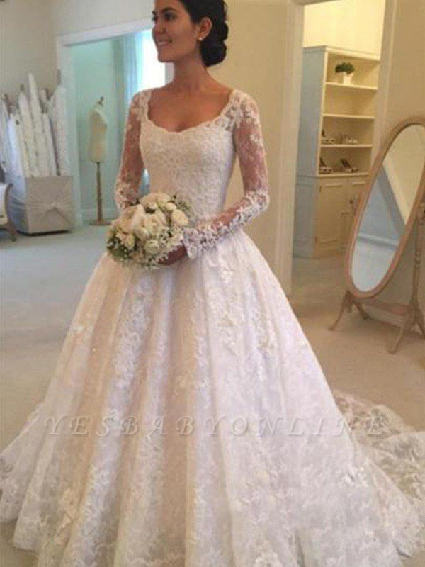 Glamorous Long Sleeves Ruffles Puffy Scoop Cathedral Train Lace Wedding Dresses