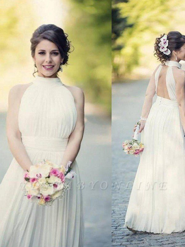 Alluring Floor-Length Sleeveless Halter Ruffles Tulle Wedding Dresses
