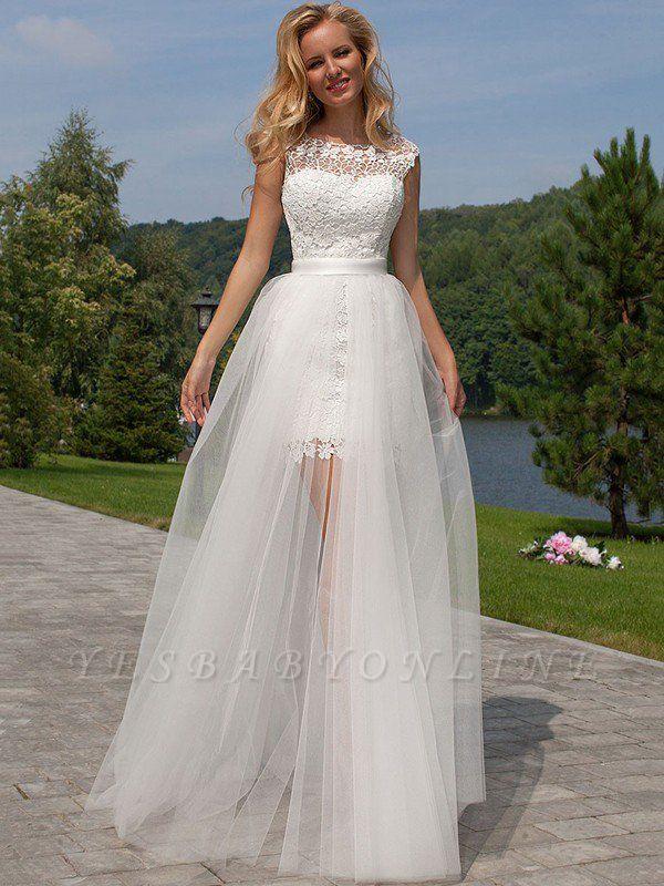 Gorgeous Lace Tulle Sleeveless Wedding Dresses | Column Scoop Floor-Length Birdal Gowns