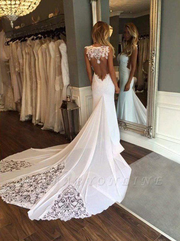 Cathedral Train Sexy Mermaid Lace Wedding Dresses | Sweetheart Applique Sleeveless Bridal Gowns