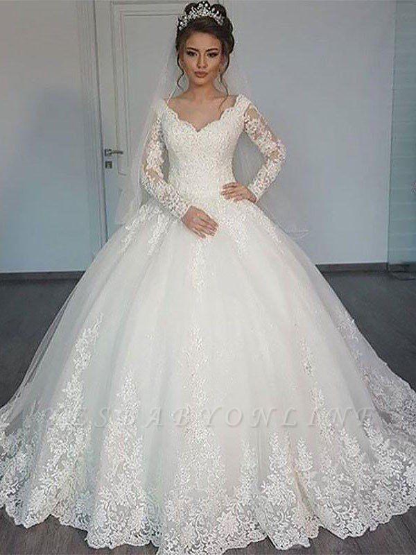 Long Sleeves Court Train Tulle Puffy V-neck Gorgeous Wedding Dresses