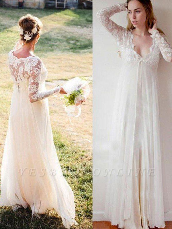 Charming Floor-Length V-neck Long Sleeves Chiffon Empire Lace Wedding Dresses