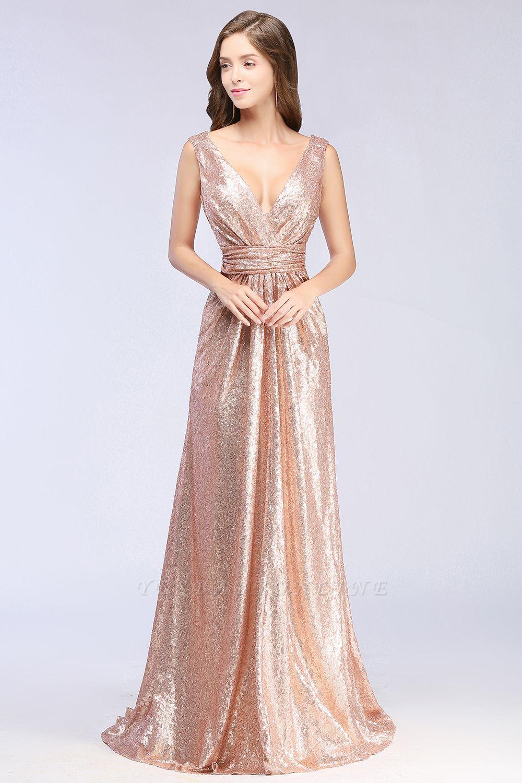 Elegant A-line Sequined V-Neck Sleeveless Floor-Length Bridesmaid Dresses