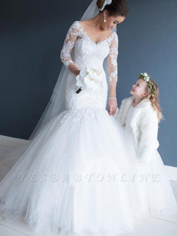 3/4 Sleeves Tulle Court Train Sexy Mermaid Lace V-neck Wedding Dresses