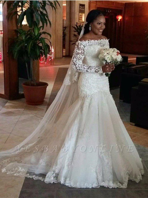 Tulle Floor-Length  Off-the-Shoulder Long Sleeves Sexy Mermaid Lace Wedding Dresses