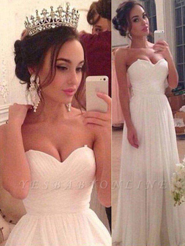 Charming Floor-Length Sleeveless Sweetheart Ruffles Chiffon Wedding Dresses