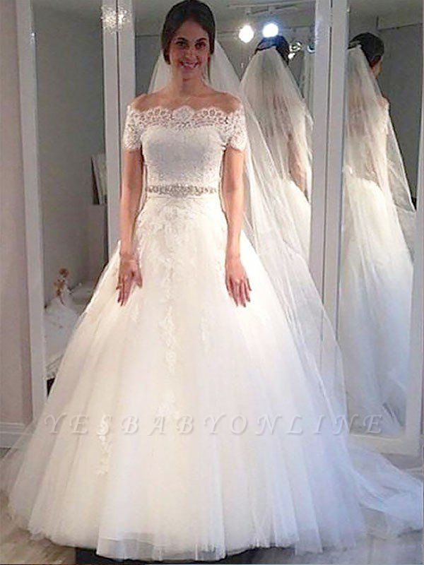 Charming Short Sleeves Sweep Train Puffy Tulle Off-the-Shoulder Wedding Dresses