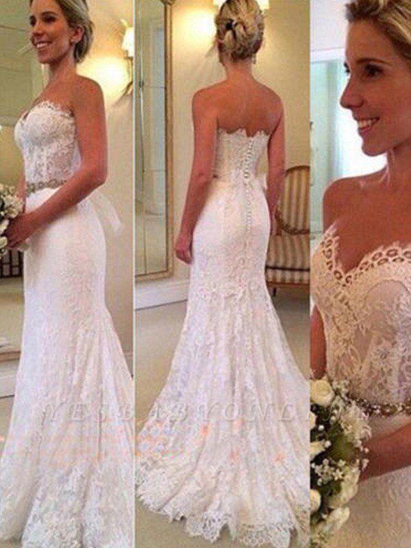 Glamorous  Sleeveless Sweep Train Sweetheart Applique Sexy Mermaid Lace Wedding Dresses