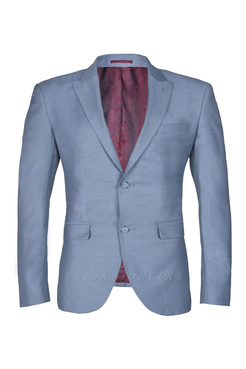 High Quality Sky Blue Two Button Single Breasted Slim Fit Wedding Suit