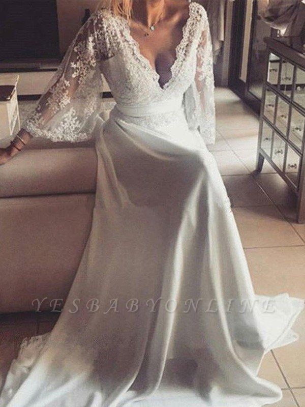 Stunning Court Train Long Sleeves V-neck Lace Wedding Dresses with Ribbon
