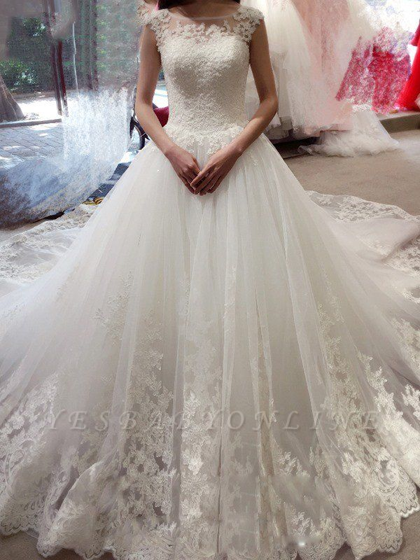 Court Train Applique Wedding Dresses | Sleeveless Tulle Puffy Bateau Bridal Gowns
