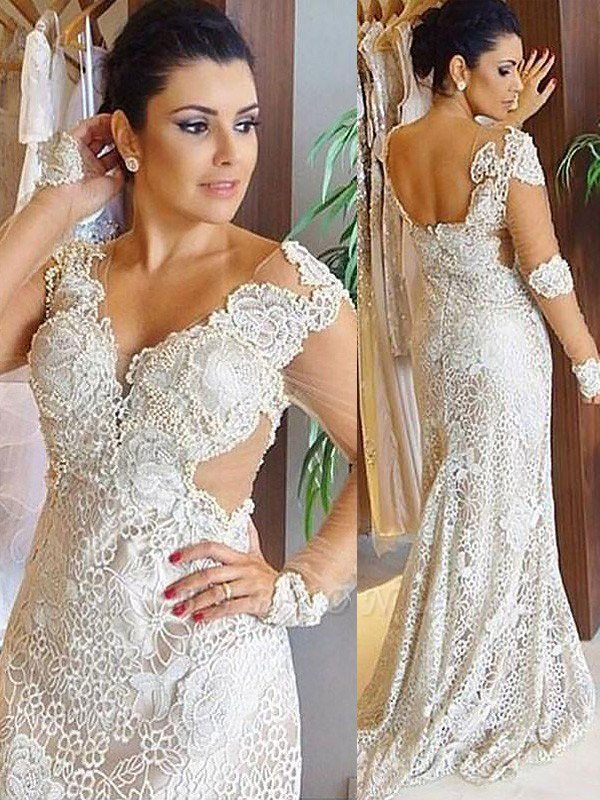 Long Sleeves V-neck  Sweep Train Lace Column Wedding Dresses