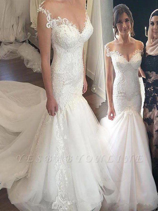 Off-the-Shoulder Sexy Mermaid Sleeveless Lace Chapel Train Tulle Wedding Dresses