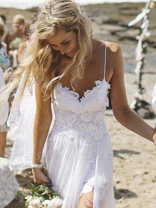 Elegant V-neck Applique Wedding Dresses | Sweep Train Chiffon Sleeveless Bridal Gowns