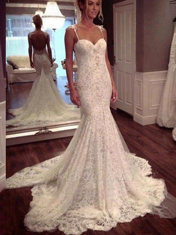Court Train Lace Sexy Mermaid Wedding Dresses | Spaghetti Straps Sleeveless Bridal Gowns