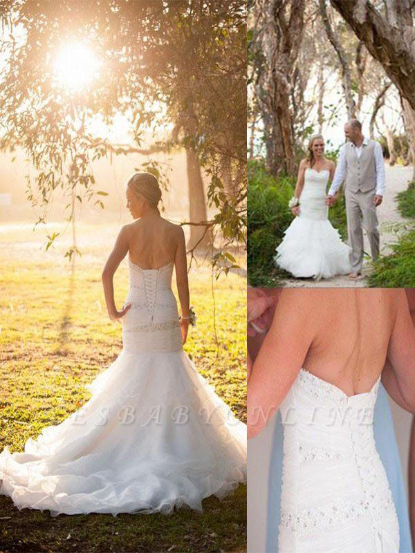 Breathtaking  Sleeveless Court Train Sweetheart Sexy Mermaid Tulle Wedding Dresses