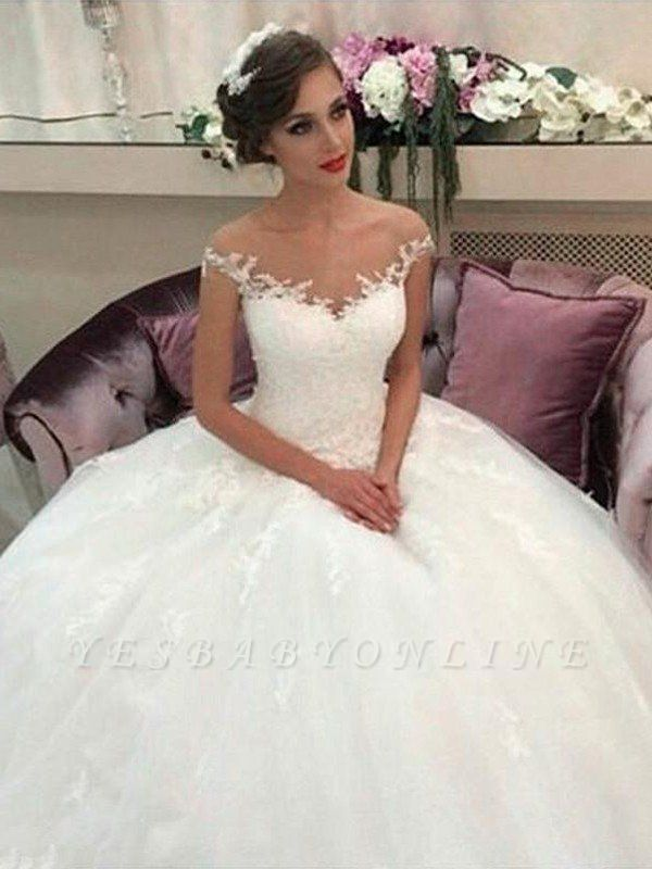 Sleeveless Off-the-Shoulder Tulle Court Train Puffy Wedding Dresses