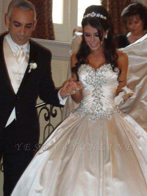 Romantic Taffeta Sleeveless Cathedral Train Ruffles Puffy Sweetheart Wedding Dresses
