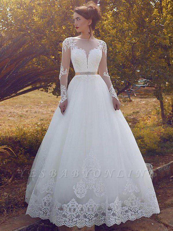 Sleek Tulle Floor-Length Long Sleeves Puffy Bateau Wedding Dresses