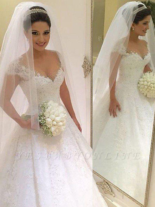 Floor-Length Tulle Beaded Puffy Sleeveless V-neck Wedding Dresses