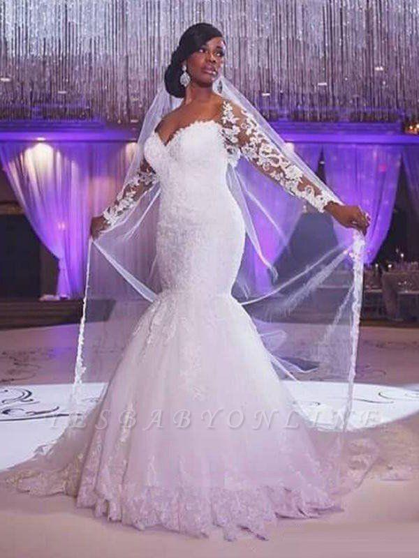 Sweep Train Long Sleeves Tulle Sweetheart  Sexy Mermaid Applique Wedding Dresses