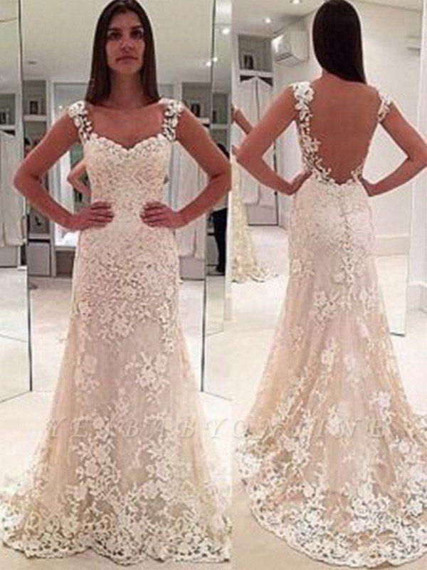 Column Straps Court Train Sleeveless Sweetheart Applique Lace Wedding Dresses