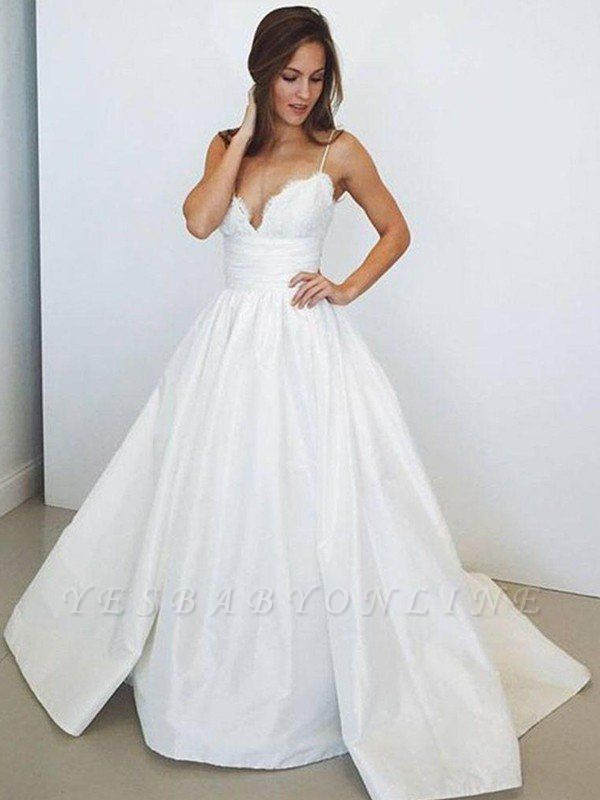 Sweep Train  Satin Spaghetti Straps Puffy Sleeveless Ruched Wedding Dresses