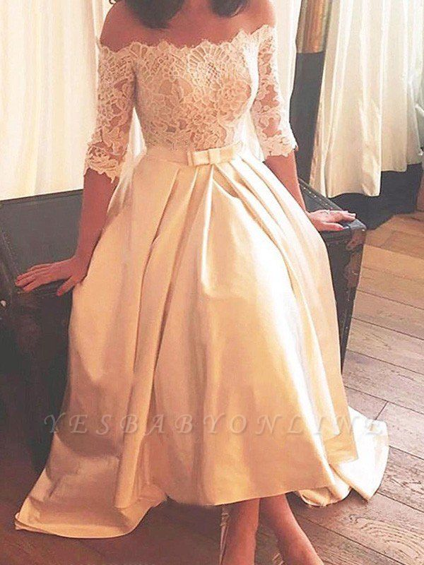 1/2 Sleeves Asymmetrical Satin Off-the-Shoulder Lace Wedding Dresses