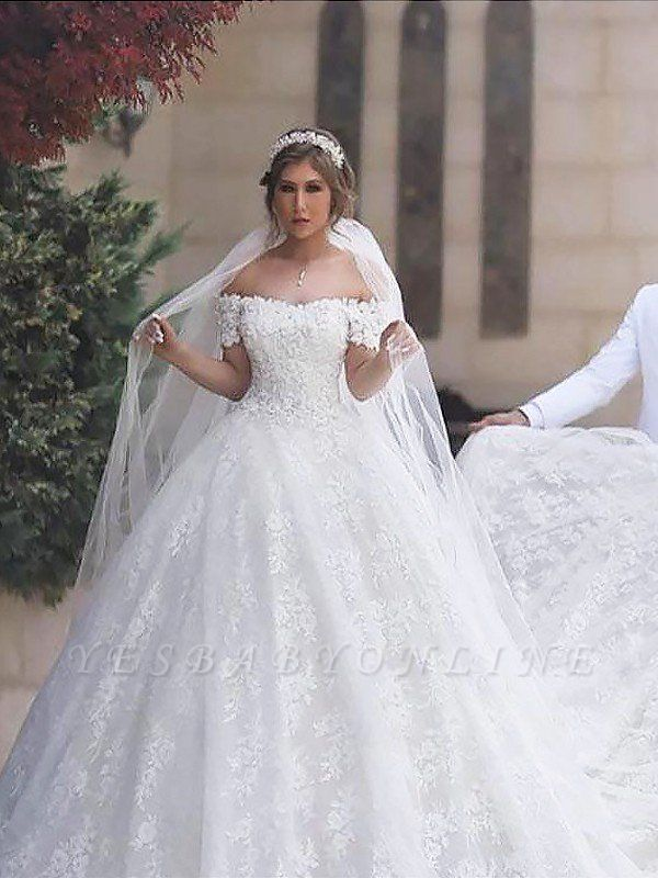 Irresistible Court Train Puffy Short Sleeves Off-the-Shoulder Wedding Dresses