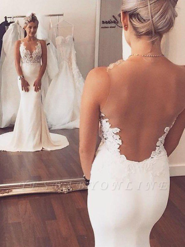 Sleek Satin Court Train Applique Sleeveless Scoop Sexy Mermaid Wedding Dresses