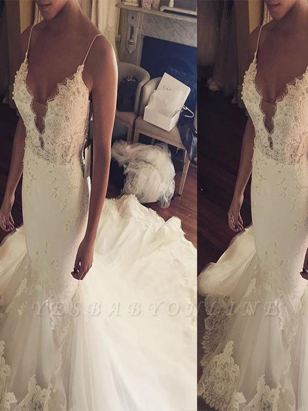 Tulle Spaghetti Straps Court Train Sleeveless Sexy Mermaid Lace Wedding Dresses