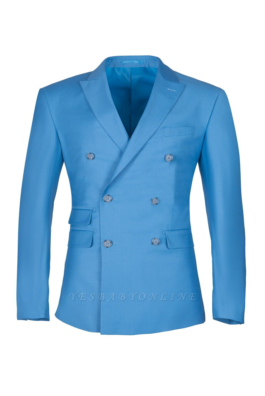 Ocean Blue Casual Suit Customize Groomsmen Peak Lapel Double Breasted