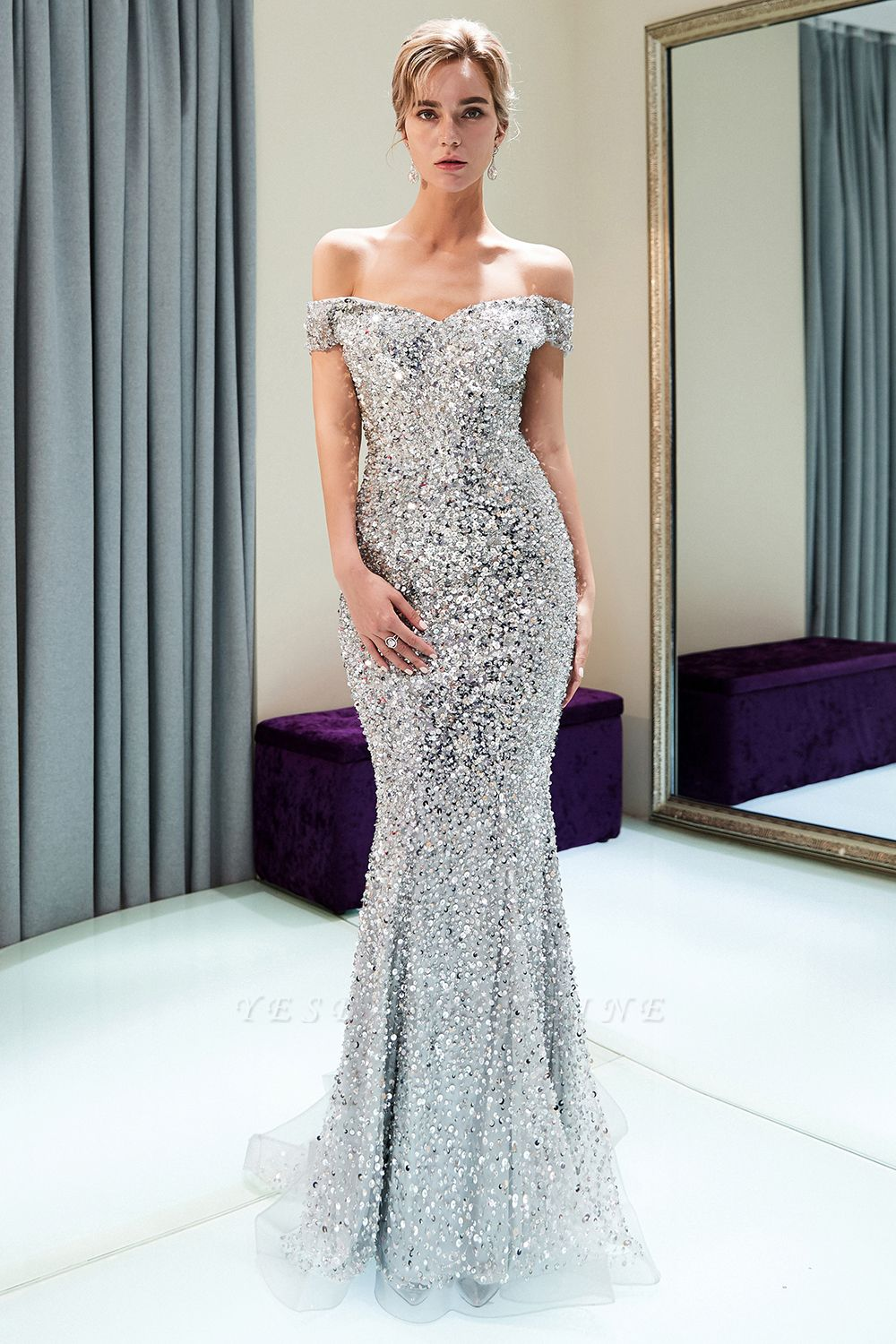 Mermaid Silver Sequins Off-the-shoulder Long Prom Dress | 2019 Evening Dress
