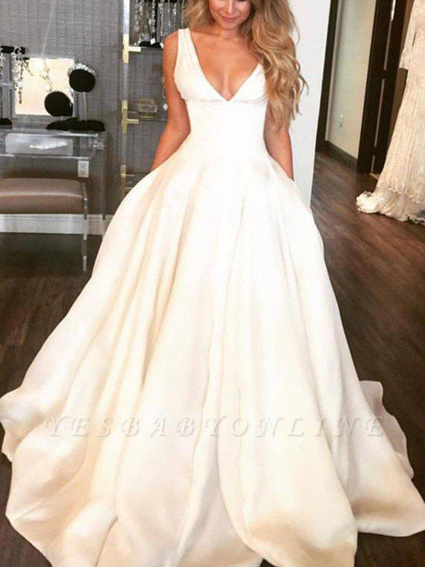 Sweep Train Ruffles A-Lines Wedding Dresses | Satin Sleeveless V-neck Bridal Gowns