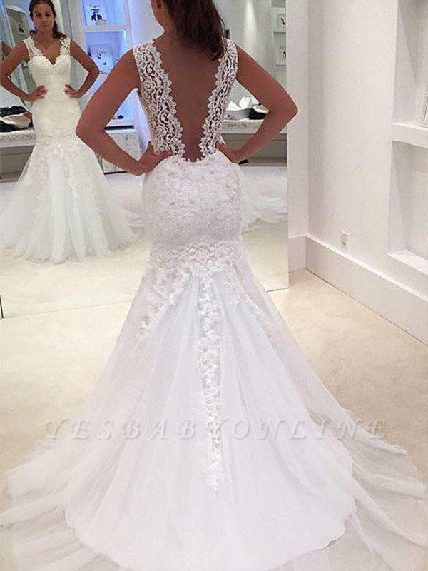 Stunning V-neck Sexy Mermaid Lace Sleeveless Wedding Dresses  Court Train Applique Bridal Gowns