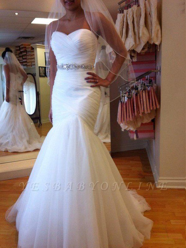 Tulle Floor-Length Beaded Sleeveless Sweetheart Sexy Mermaid Wedding Dresses